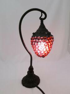 Vintage Beaded Glass Grape Bunch Cluster Metal Desk Lamp Czech Murano ?