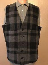 New $145 Polo Ralph Lauren Denim Supply Blue Gray Plaid Vest Buffalo Wool XXL