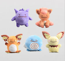 5PCS Pokemon Ditto Gengar Poliwag Pichu Raichu Vulpix Metamon Plush Doll 6'' Toy