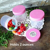 12 Plastic JARS 2 ounce Container PINK Screw on Caps Lids Tops 5307 DecoJars USA