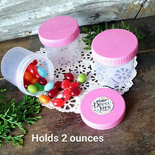 20 NEW Plastic 2 Ounce Empty Cosmetic Container Jar Pink Cap Reusable USA