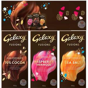 GALAXY FUSIONS CHOCOLATE COCOA, SEA SALT & RASPBERRY MERINGUE TREAT BARS 100g