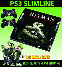 PLAYSTATION PS3 SLIM HITMAN ABSOLUTION console ADESIVO SKIN e 2 SKIN PER PAD