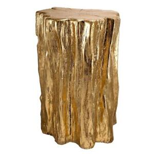 Nature Inspired Tree Trunk Garden Stool End Table Handmade Shiny Gold NEW