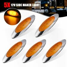 """5x Amber 12V 6.5"""" Side Marker Clearance Light 16 LED Chrome For Truck Trailer"""
