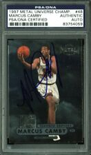 Raptors Marcus Camby Authentic Signed Card 1997 Metal Universe #48 PSA Slabbed
