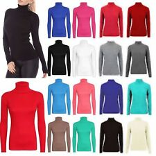 New Women's Ladies Ribbed Cotton Polo Turtle Neck Long Sleeve Fitted Jumper Tops