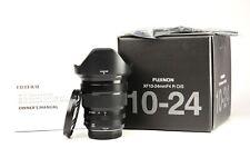 Fuji XF 10-24mm Fujifilm F4 R OIS Fujinon Lens + Front/Rear Lens Caps +Hood +Box