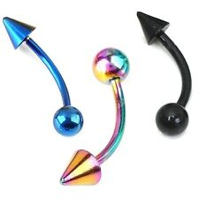 New Stainless Steel Eyebrow Cartilage Bar Spike Ball Black Blue Rainbow 16g