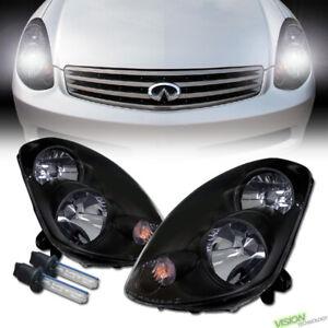 For 03-04 Infiniti G35 Sedan 6000K Hid Xenon Jdm Blk Headlights Headlamp Parking
