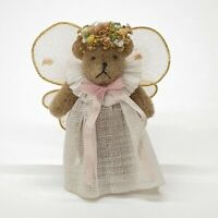 Miniature Artist Jointed Teddy Bear Angel White Dress Pink Wings Flower Halo 2""