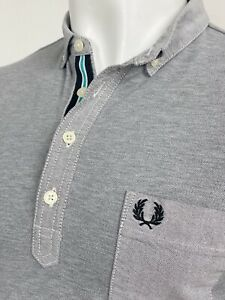 Fred Perry   Woven Tape Trim Pique Polo Shirt M L (Grey) Mod Scooter 60s Casuals