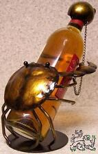 Wine Bottle Holder All Metal Whimsical Sculpture Crab and Seashell NEW