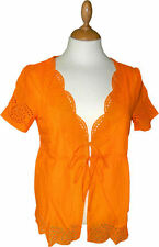 SOUTH EMBROIDERY ANGLAIS TIE TOP BLOUSE NEON ORANGE SIZE 10-14