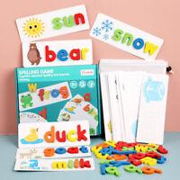 Preschool Learning Toys Animal Alphabet Blocks Wooden Letter Puzzles Shape Cards
