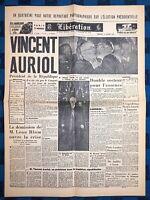 La Une Du Journal Libération 17 Janvier 1947 Élection De Vincent Auriol