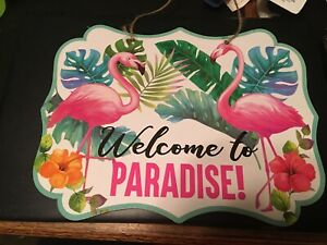 Wooden  Island Party Sign Plaque Beach Summer  Tropical  Welcome to Paradise