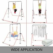 Gymnastics Horizontal Bar Kids- Adjust Training Bar, Folds for Storage, Pink New