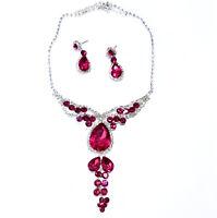 Pink Rhinestone Austrian Crystal Choker Necklace Earring Set