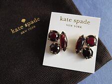 Kate Spade Earrings Desert Stone Cluster Chocolate Faux Garnet Pouch Pierced New
