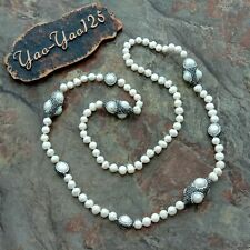 """38"""" White Pearl Black Crystal Pave Long Necklace"""