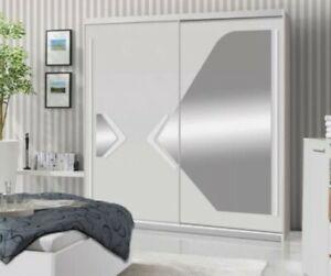 2 Sliding Door Wardrobe-White/White Gloss/Mirror-175cm.DN1-175. DOMINO.NEW