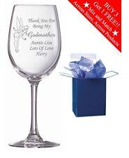 Personalised Engraved Wine Glass Christening Gift Godmother Godfather Gift Idea