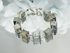 Modeschmuck Armband Perlen Würfel Glas Polaris grau silber  401e