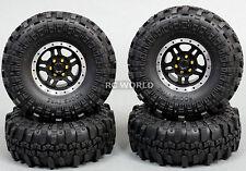 Axial 1/10 Scale Truck Rims 1.9 BEADLOCK Metal Aluminum BLACK  w/ SUPER SWAMPERS