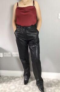 VTG 80s Look Black Soft Leather Pleated High Waist Straigh Leg Trousers W32 L32