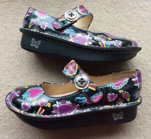 Ladies Alegria by PG Lite Paloma Leather Black / Pattern Shoes EU 36 UK 3