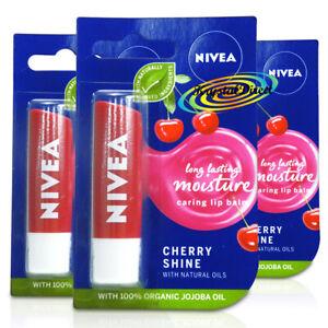 3x Nivea Fruity Shine Cherry Aroma Gloss Lip Balm Stick Dry Chapped Lip Care