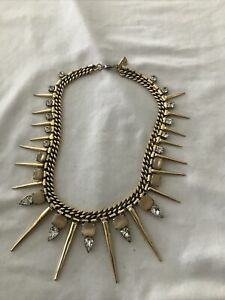 Retro  Punk Jeweled And Spiked Statement Necklace  Yochi New York