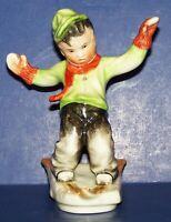 "LOVELY VINTAGE RARE BAVARIA SCHUMANN PORCELAIN BOY SKIING 5 1/2"" FIGURINE"