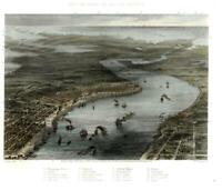 New Orleans Louisiana amazing birds-eye view 1863 lovely print Mississippi River