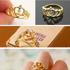 2X Elegant Women Gold plated Filled Rhinestone Crown Crystal Hollow Finger Ring