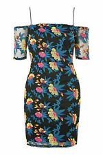 Topshop Embroidered Floral Black Summer Mini Dress size 14 Lace Cut-out back