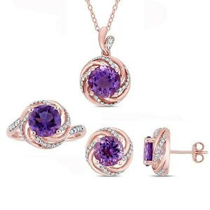 Amour Rose Plated Silver Amethyst & White Topaz and Diamond Halo Jewelry Set