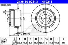2x Bremsscheibe für Bremsanlage Hinterachse ATE 24.0110-0211.1
