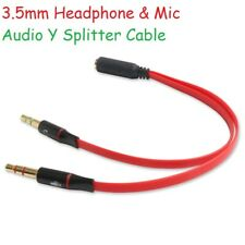 3.5mm Audio Y Splitter Cable Lead Adapter for Mic Microphone Headphone Headset