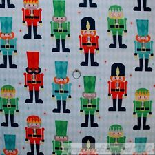 BonEful Fabric Cotton Quilt VTG White Green Red Xmas Nut*cracker Soldier L SCRAP