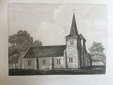 1809 antica stampa; Chiesa di St Nicholas, Chislehurst, Bromley, Londra