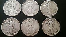 1934 -1943 Walking Liberty Half Dollar , 5 silver coins.NOT A lot