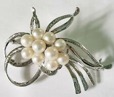 Beautiful Sterling Silver and Pearl Cluster (10 Pearls) Brooch Pin Vintage