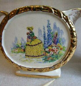 ai Vintage SADLER ENGLAND GOLD CHINTZ & 💃 Crinoline Lady 💃 CREAMER c 1950 ai!