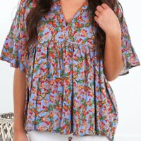 UMGEE Floral Print Top Babydoll Blouse Loose Fit Shirt New Green or Blue S-M-L