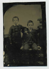 Antique Tintype Ferrotype Photograph of Two Young Boys R10