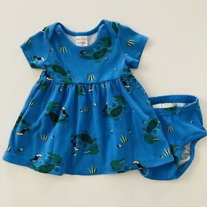 Hanna Andersson Baby Girl 6-12 Months Dress Organic Cotton Blue
