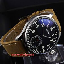 44mm parnis black dial blue luminous 6498 movement hand winding mens watch 398
