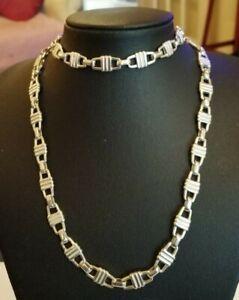 Heavy Fancy chain link sterling silver necklace - 43.2 gms